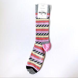 New Happy Socks Striped Crew Socks Gray Orange